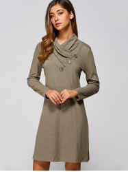 Casual Long Sleeve Mini Shift Dress