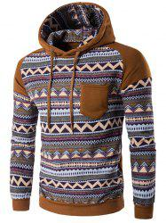 Color Block Tribal Printed Pocket Hooded Raglan Sleeve Hoodie - COFFEE