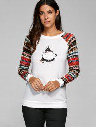 Tribal Print Sleeve Baseball T-Shirt