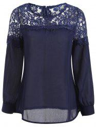 Sheer Lace Yoke Blouse -