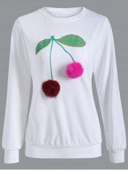 Crew Neck Pompom Cherry Sweatshirt - WHITE XL