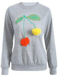 Crew Neck Pompom Cherry Sweatshirt
