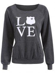 Raw Cut Neckline Love Sweatshirt