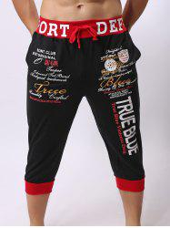 Lace-Up Color Block Spliced Letters Print Beam Feet Cropped Jogger Shorts - RED/BLACK M
