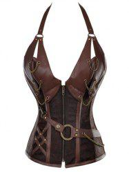 Vintage Halter Faux Leather Corset - COFFEE