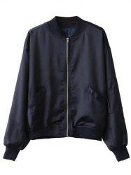 Zip-Up Letter Bomber Jacket -