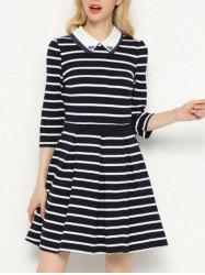 Striped Beading A-Line Dress - BLUE M
