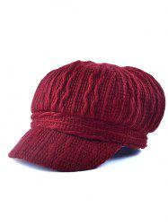 Outdoor Wavy Stripy Crochet Knit Newsboy Hat - WINE RED