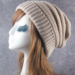 Winter Stripy Crochet Flanging Knit Slouchy Hat -