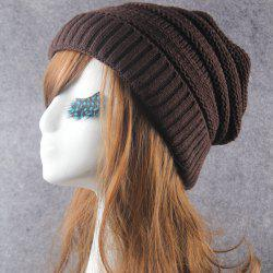 Winter Stripy Crochet Flanging Knit Slouchy Hat - COFFEE
