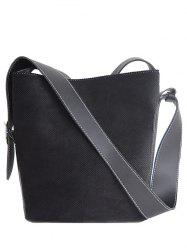 Splicing Corduroy Magnetic Closure Shoulder Bag - BLACK