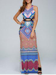 Crisscross Cut Out Sleeveless Printed Maxi Slit Dress -