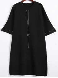 Bell Sleeve Loose and Fitting Knitted Dress -