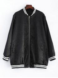 Plus Size Striped Hem Baseball Bomber Jacket - BLACK