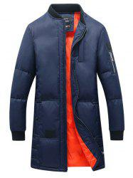 Rib Splicing Stand Collar Lengthen Cotton-Padded Zip-Up Coat -