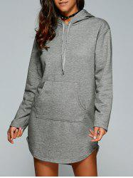 Drawstring Kangaroo Pocket Hoodie Dress