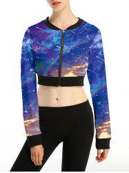 Zip Up Galaxy Cropped Sweatshirt