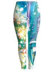 Colorful Print Bodycon Christmas Leggings - COLORMIX XL