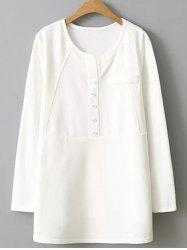 Plus Size Button Embellished Blouse - WHITE 2XL