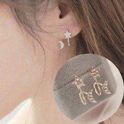 Rhinestone Star Moon Ear Cuffs