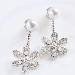 Rhinestone Faux Pearl Flower Earrings -
