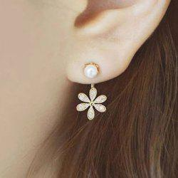 Rhinestone Faux Pearl Flower Earrings - GOLDEN