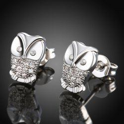 Rhinestone Owl Stud Earrings
