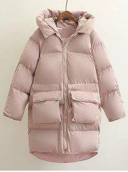Hooded Double Pocket Down Coat - PINK