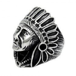 Vintage Alloy Indian Chief Ring -