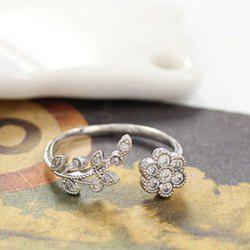 Rhinestone Tree Leaf Floral Cuff Ring