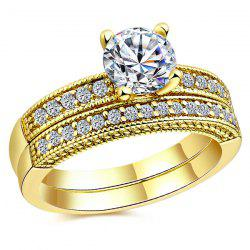 Faux Diamond Rhinestone Engagement Couple Finger Rings - GOLDEN