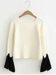 Flare Sleeve Short Color Block Knitwear -