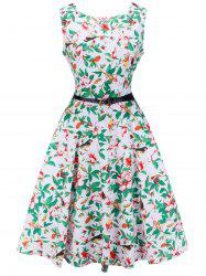 Retro Sleeveless Printed Midi Dress -