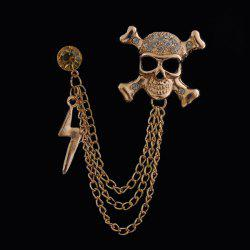 Rhinestone Skull Lightning Tassel Chains Brooch - GOLDEN