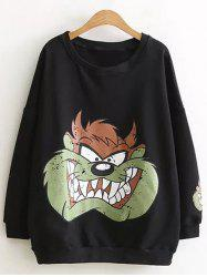 Drop Shoulder Cartoon Plus Size Sweatshirt