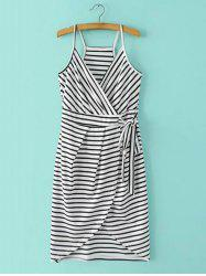 Spaghetti Strap Stripe Surplice Dress -