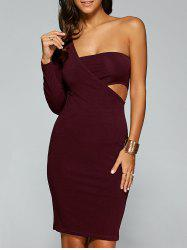 Backless One Shoulder Bandage Club Dress - WINE RED XL