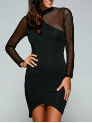 See-Through Asymmetric Club Dress - BLACK