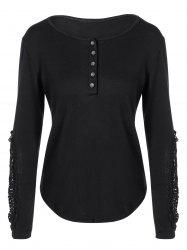 Concise Openwork Lace Buttons T-Shirt - BLACK 2XL