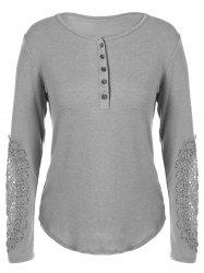 Concise Openwork Lace Buttons T-Shirt -