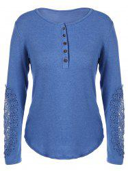 Concise Openwork Lace Buttons T-Shirt