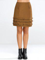 Faux Suede Skirt with Layered Tassel