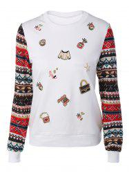 Festival Sequins Embroidery Christmas Graphic Sweatshirt - WHITE XL