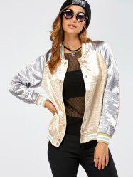 Autumn Lurex Color Block Baseball Jacket - GOLDEN XL