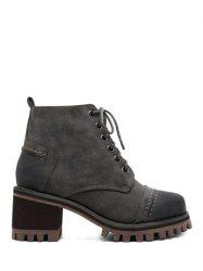 Lace-Up Chunky Heel Platform Ankle Boots - GRAY