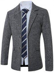 Lapel Single-Breasted Cotton Blends Wool Coat - GRAY 3XL