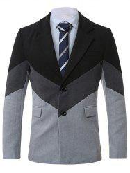 Lapel Single-Breasted Color Block Splicing Wool Coat -