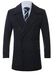 Turn-Down Collar Lengthen Double-Breasted Wool Coat - CADETBLUE 4XL