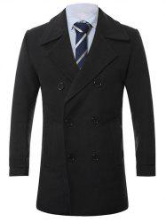 Turn-Down Collar Lengthen Double-Breasted Wool Coat