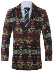 Lapel Single-Breasted Vintage Geometric Print Wool Coat -